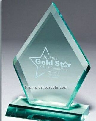 Multi Faceted Jade Green Acrylic Zenith Award (Screen Printed)