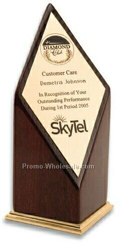 Piano Wood Peak Performance Award W/ Gold Accents (Screen Printed)