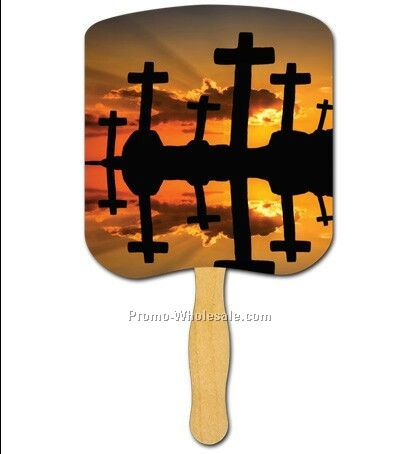 Religious Hand Fan Stapled/Crosses At Sunset