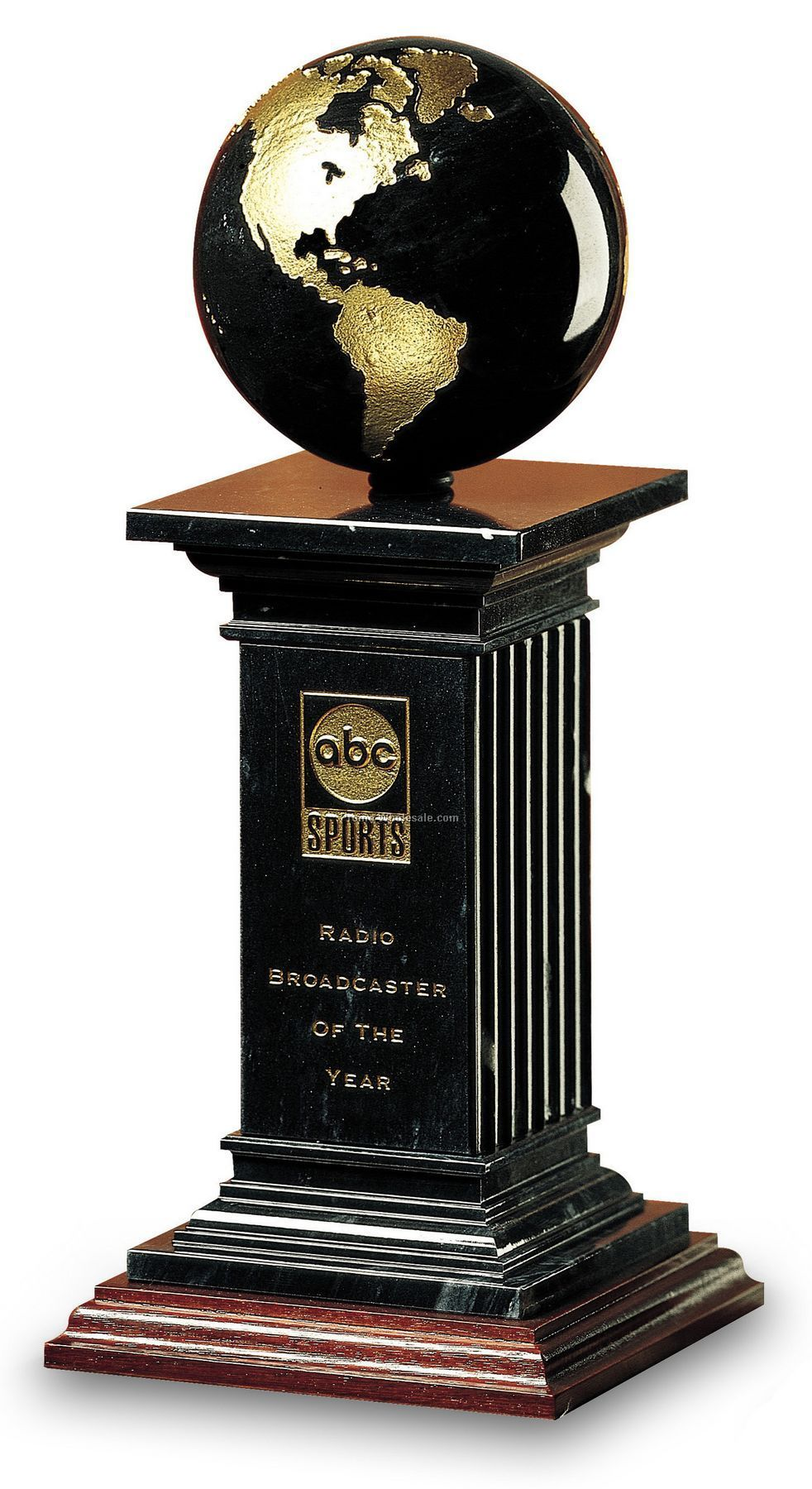 Small Black Marble Renaissance Pillar & Globe Award