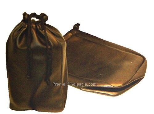 "Synthetic Leather Drawstring Utility Bag (9""x5-1/2"")"