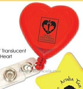 Translucent Red Heart Retractable Badge Holder