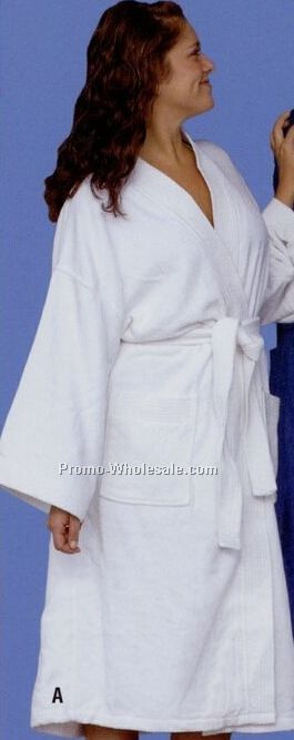 "White Distinction Shawl Collar Ultra Shear 2 Ply Velour Robe (48"")"