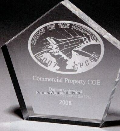 "1"" Thick Clear Acrylic Pentagon Award (Screen Printed)"