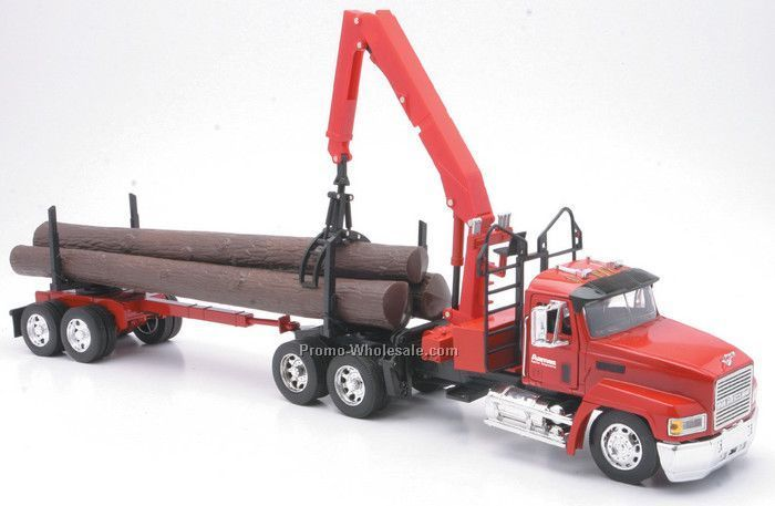 "1:32 Scale 23""x 3.75"" Die Cast Replica Mack Tractor And Log Trailer"