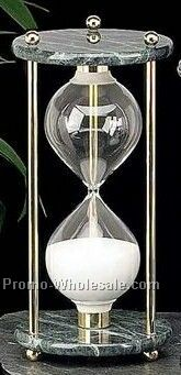 "10"" Brass & Green Marble 60 Minutes Sand Timer"