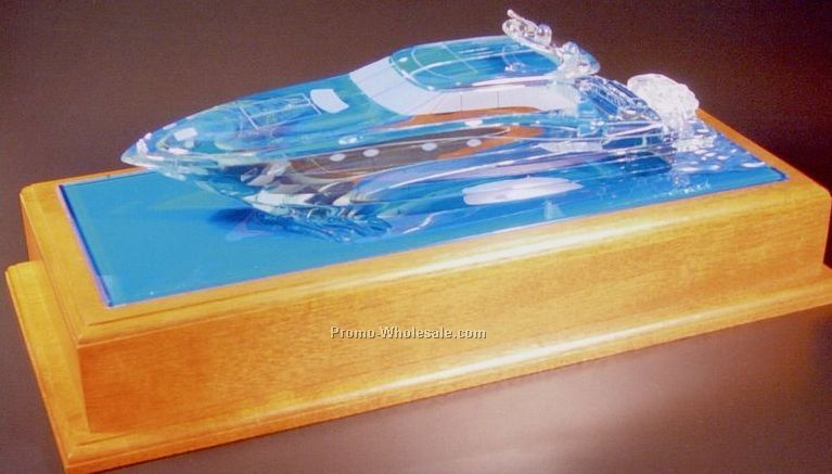 "12""x8""x4"" Glass Yacht Replica"