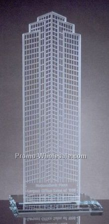 "14-1/2""x6""x6"" Two Dimensional Replica Of Nation's Bank Headquarters W/ Base"
