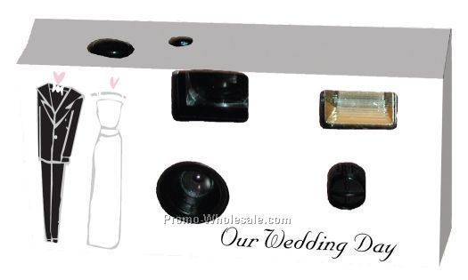 27 Exposure Wedding Design Camera W/Matching Table Card (Bride & Groom)