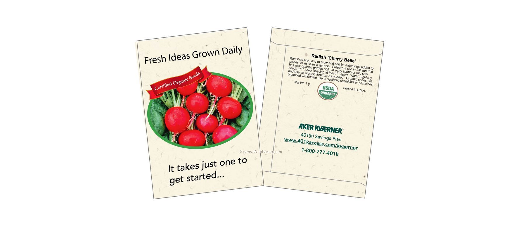 "3-1/4""x4-1/2"" Organic Radish - Cherry Belle - Seed Packets (1 Color)"