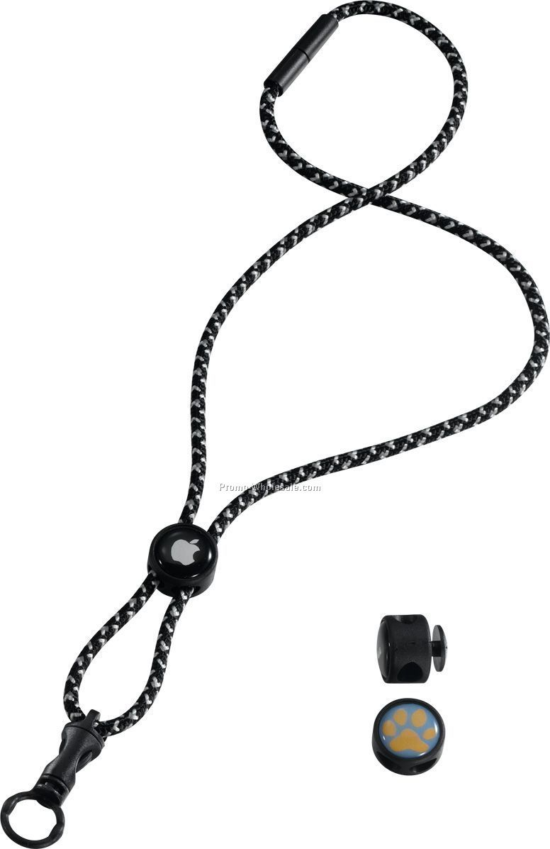 "3/16"" Reflective Power Cord Lanyard With Domed Locking Slider"