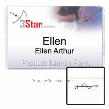 "4""x2-1/2"" Vinyl Nametag Holder W/ Pin Attachment"