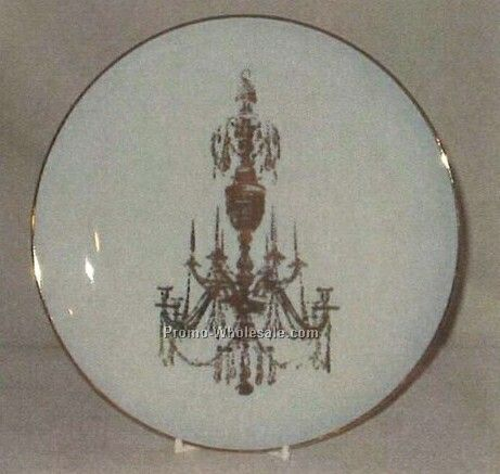 "9-1/4"" Diameter Round Coupe Style Plate W/ Gold Banding"