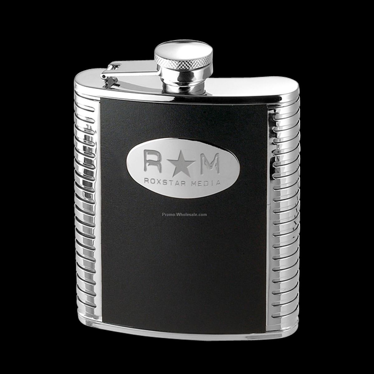 Aztec Hip Flask W/ Black Leather Accent