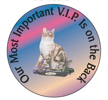 "Bengal Cat Round Hand Mirror W/ Full Mirror Back (2-1/2"")"