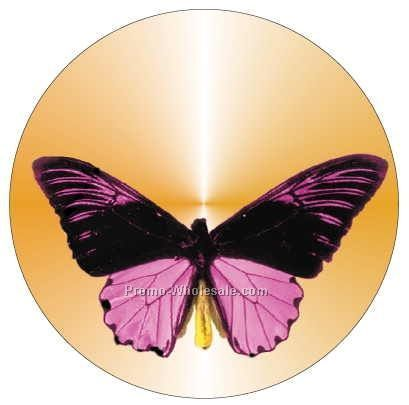 "Black & Purple Butterfly Badge W/ Metal Pin (2-1/2"")"