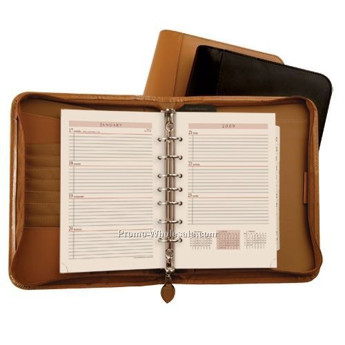 Black Bonded Leather Zippered Weekly Organizer