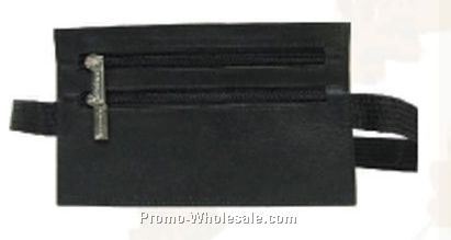 Black Napa Lambskin 2 Zippered Security Wallet Fanny Pack