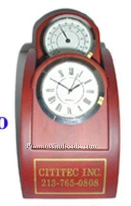 Cititec Wooden Clock W/ Curved Top & 2 Clocks