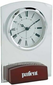Desk Clock W/ Rosewood Base & Silver Accents