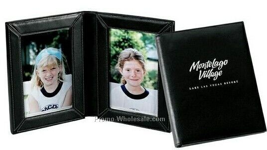 "Double 4""x6"" Simulated Leather Picture Frame"
