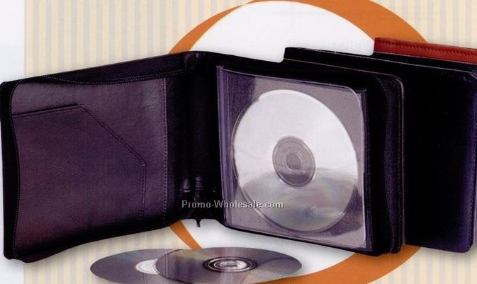 Genuine Leather 20 CD/ DVD Zip Around Carrier Case