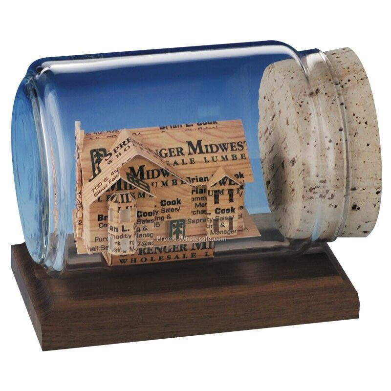 House Business Cards In A Bottle Sculpture