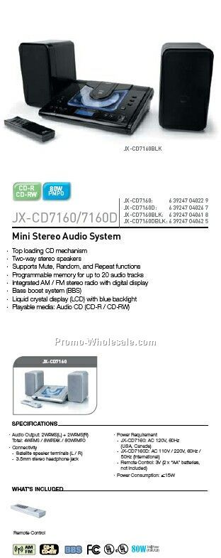 Mini CD Stereo Audio System W/ Remote