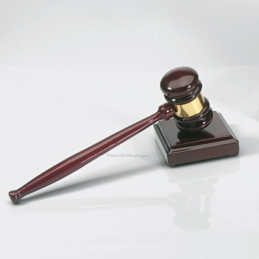 Rosewood Gavel With Band & Sound Block