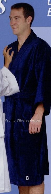 "White Distinction Kimono Ultra Shear 2 Ply Velour Robe (48"")"
