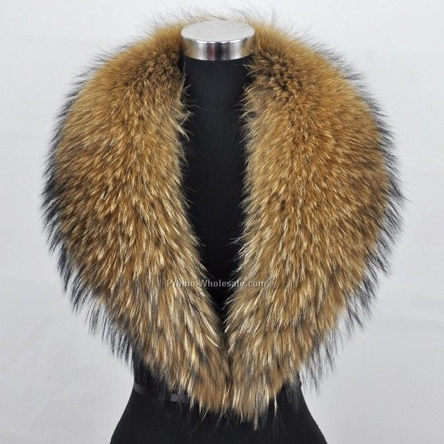 100% Real Raccoon Fur Collar Women`s Neck Warmers Fur Scarf Shawl