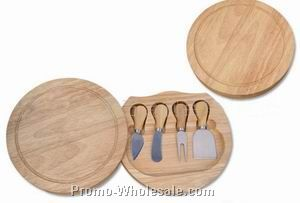 4 Cheese Knife Set With Wooden Cheese Board;