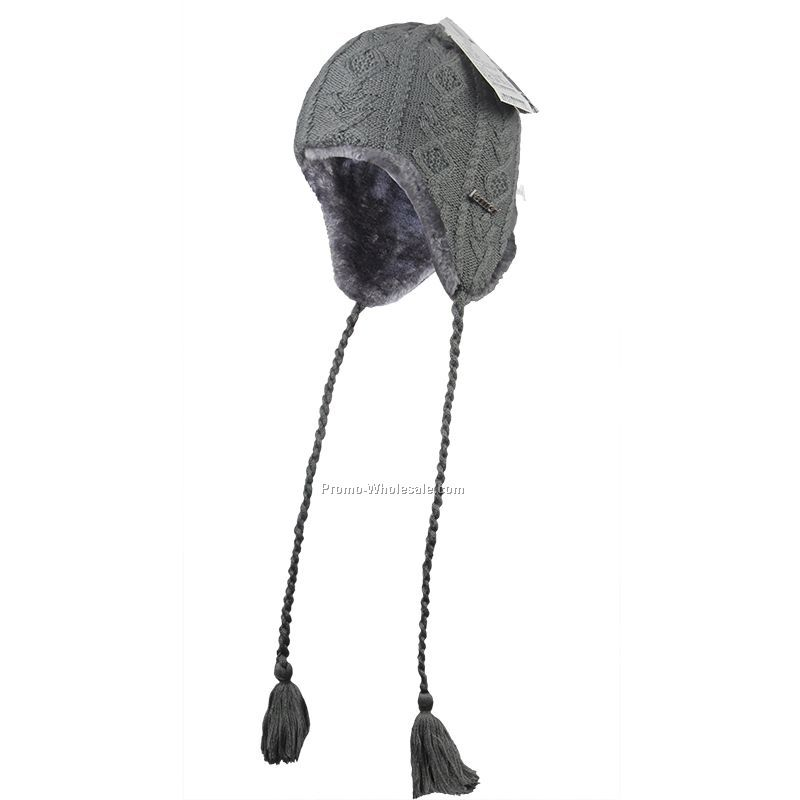 Warm earflap with artificial fur