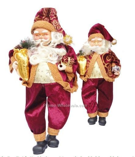 Traditional Sitting Fabric Christmas Santa