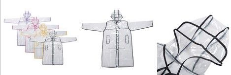 Fashion transparent PVC raincoat